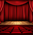 Cinema or theater scene with a curtain vector image vector image