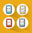 collection kawaii cellphone cute vector image vector image