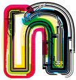 Colorful Grunge font LETTER n vector image vector image