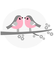 Cute bird couple on blossom branch - retro vector image