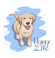 dog watching snowflakes happy new 2018 year vector image vector image