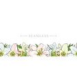 endless border of hand-drawn lily flowers vector image