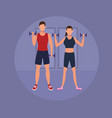 fitness couple doing exercise vector image