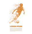 Football player in dynamics on small particles vector image