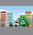 garbage truck in the city vector image vector image