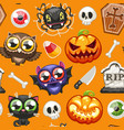 halloween seamless pattern with cartoon characters vector image