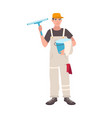 happy man dressed in uniform standing and holding vector image vector image