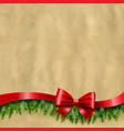 happy new year banner with ribbon and fir tree vector image vector image