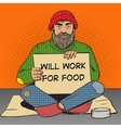 Homeless man with paper sign pop art vector image