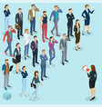 isometric fpeople with loudspeaker vector image