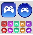 Joystick sign icon Video game symbol Set colourful vector image
