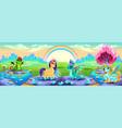 landscape dreams with fantasy animals vector image vector image
