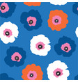 large red white and blue flowers seamless vector image vector image