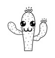 line kawaii nice and happy cactus plant vector image vector image