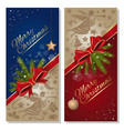 merry christmas festive red and blue cards set vector image