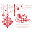 merry christmas poster with text sample baubles vector image