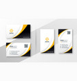 modern corporate business card design in yellow vector image vector image