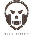 negative space concept with skull monster and vector image vector image