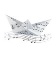 origami boat on the wave with musical notes vector image vector image