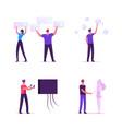 people use virtual reality technology set male vector image vector image