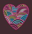 purple and pink wave heart card valentine card vector image vector image