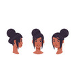 set girl head avatar front side view female vector image vector image