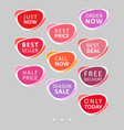 set of abstract rounded colorful sale stickers vector image vector image
