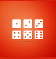 set of six dices icon on orange background vector image