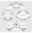 Set of vintage ornament frame and labels vector image