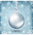 silver christmas ball with ribbon and bow vector image