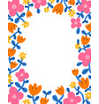 super bright and colorful cartoon floral frame vector image