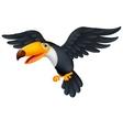 Toucan bird cartoon flying vector image vector image
