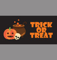 trick or treat text halloween pumpkin pot skull vector image vector image