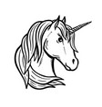unicorn head hand drawn isolated on vector image