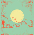 vintage desert landscape with canyon and cactuses vector image