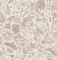 Vintage Seamless Doodles Christmas Pattern vector image vector image