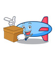 with box zeppelin character cartoon style vector image
