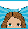 woman face with blank speech bubble for text vector image vector image