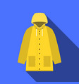 yellow vintage raincoat icon in flat design with vector image