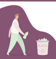 young guy throwing plastic bottle into container vector image vector image