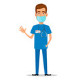 young professional doctor in mask waving hand vector image