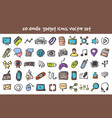 doodle gadget icons set vector image