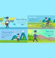 post service cartoon web banners set vector image