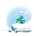 An airplane and a globe vector image vector image