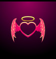 angel heart - flying heart with angel wings image vector image vector image