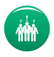 asking teamwork icon green vector image vector image