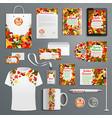 autumn leaf stationery promo supplies set vector image
