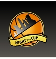 basketball logo night cup vector image vector image