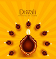 beautiful diwali diya decoration background vector image