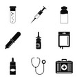 body research icons set simple style vector image vector image